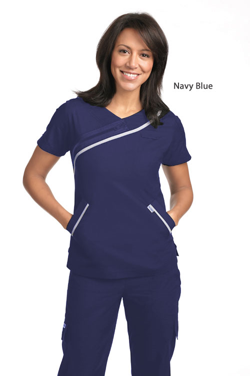 Ladies Zipper Detail Scrub Top